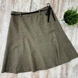 J. CREW Brown Wool Tweed A-line Skirt Velvet Belt